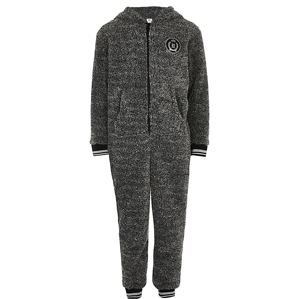 Boys grey fleece RI onesie