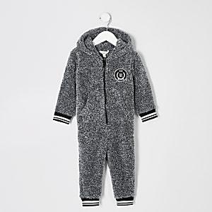 Mini - Grijze onesie met borgkraag en RI-logo voor jongens