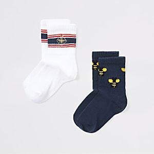 Mini - Marineblauwe sokken met bijenprint voor jongens