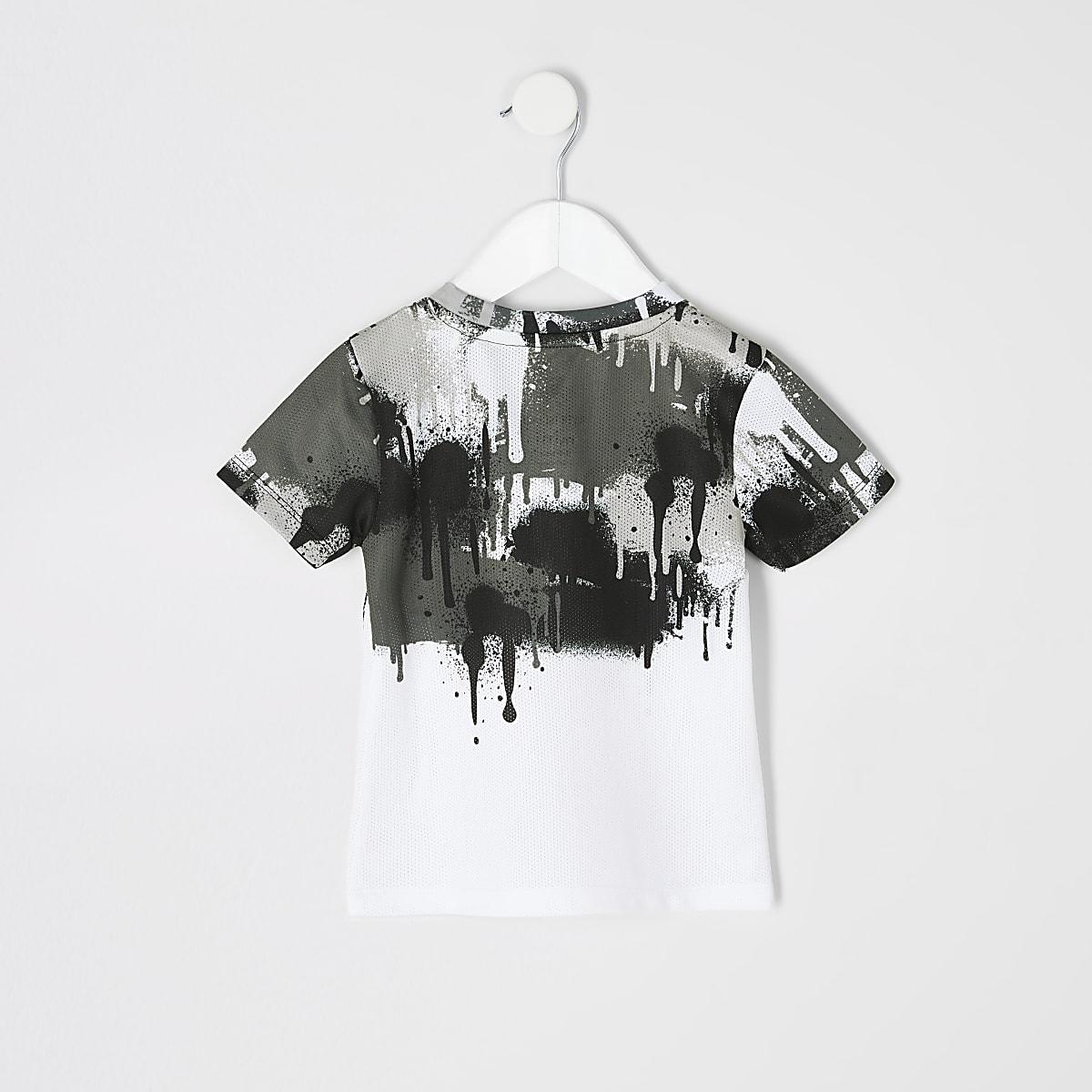 10a1af595 Mini boys white 'Prolific' drip fade T-shirt - Baby Boys Tops - Mini ...