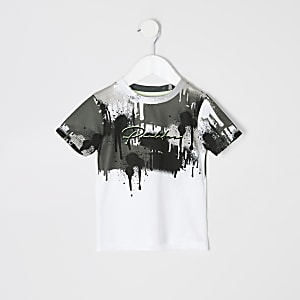 Mini boys white 'Prolific' drip fade T-shirt