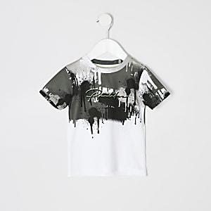 Mini - Wit T-shirt met 'Prolific'- en vervaagde druipprint voor jongens