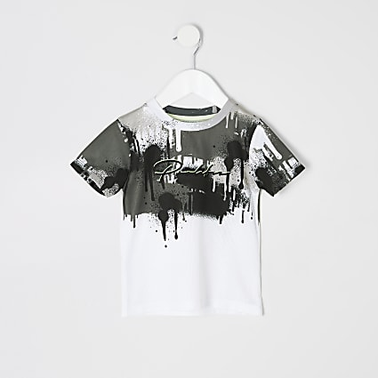 Mini boys white Prolific drip fade T-shirt