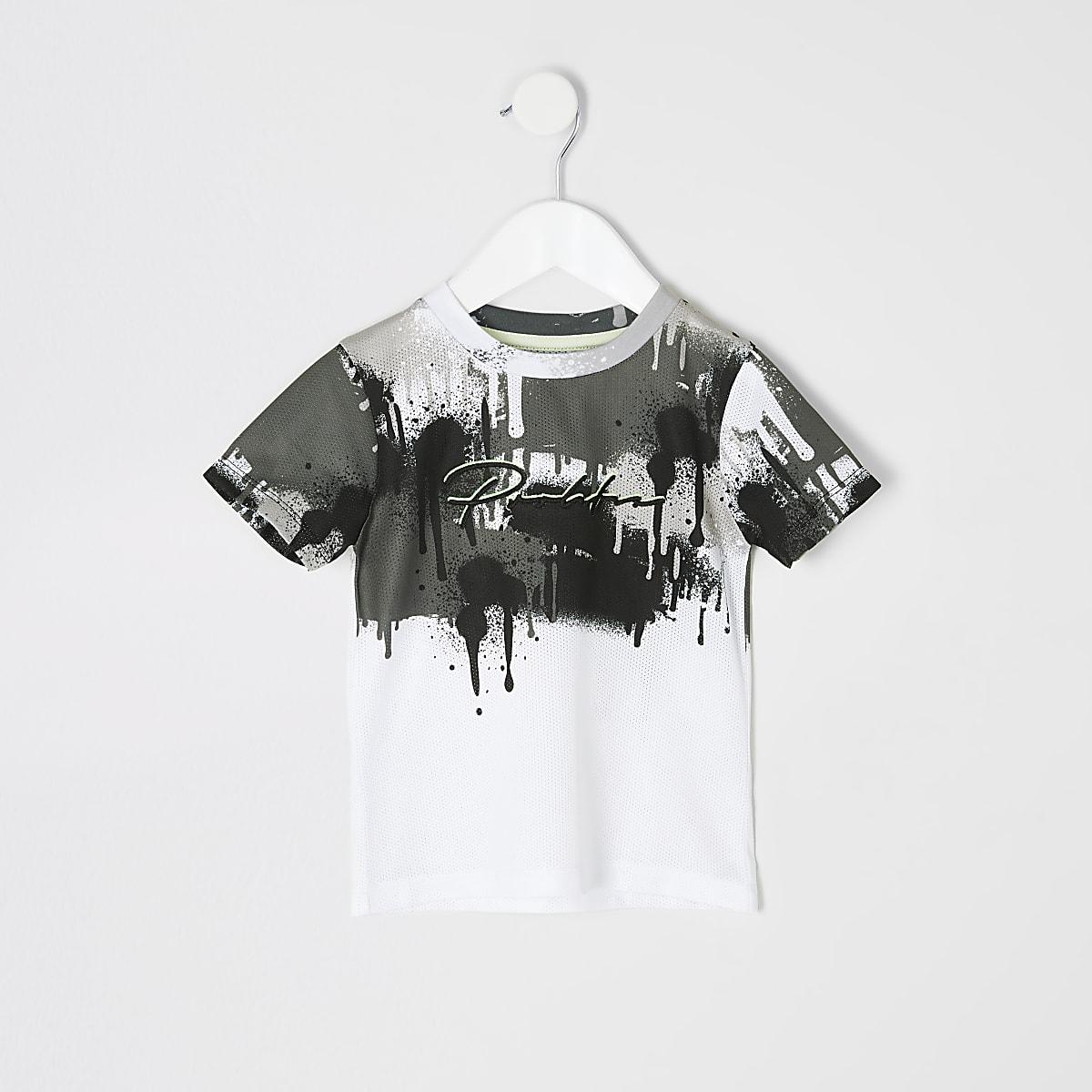 Mini boys white 'Prolific' drip fade T-shirt