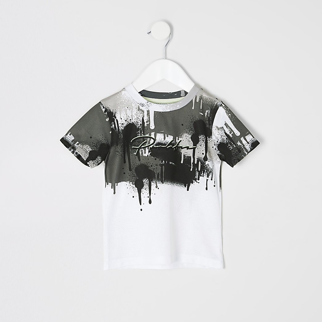 Mini boys white Prolific drip fade T-shirt