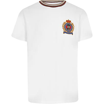 Boys white badge T-shirt