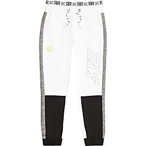 RI Active – Weiße Jogginghose in Blockfarben