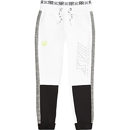 Boys RI Active white block joggers