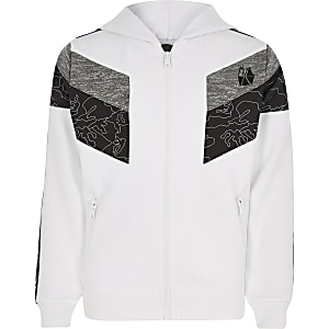 Boys RI Active white block zip hoodie