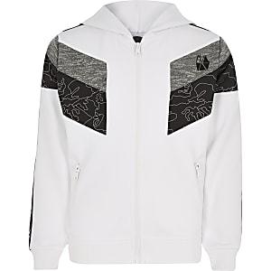 RI Active - Witte hoodie met kleurvlakken en rits voor jongens
