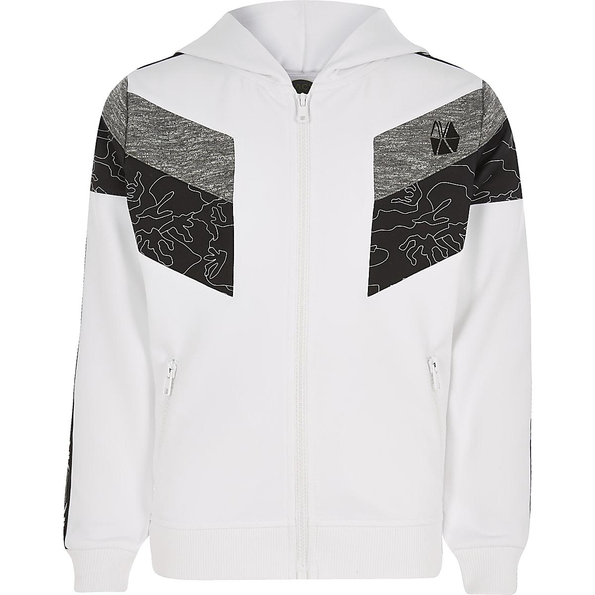 Boys RI Active white block zip hoodie