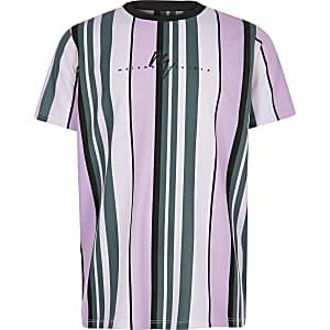 Lila gestreept T-shirt met 'Maison Riviera'-print voor jongens