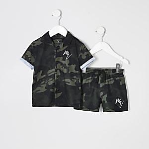 Ensemble chemise motif camouflage kaki mini garçon