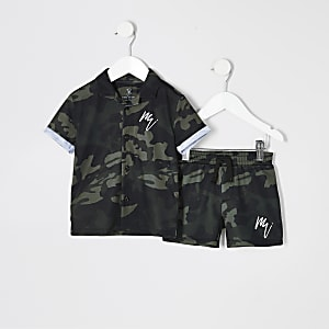 Mini - Outfit met kaki overhemd met camouflageprint voor jongens