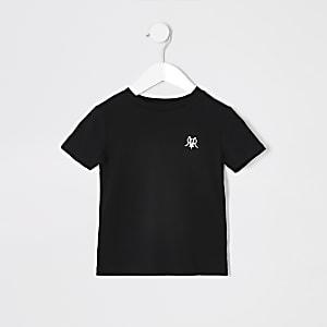 Schwarzes T-Shirt mit RI-Stickerei