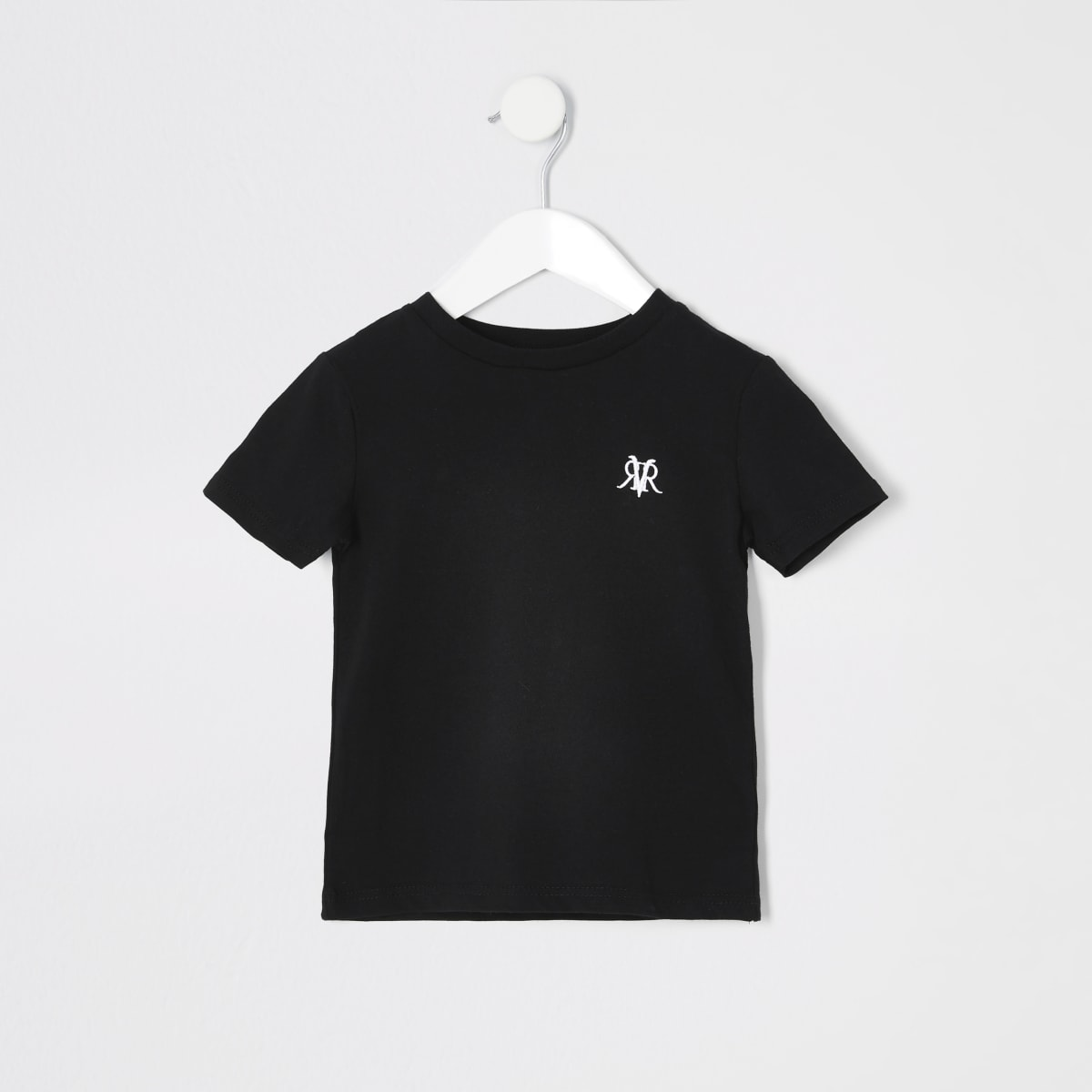 Mini boys black RI embroidered T-shirt