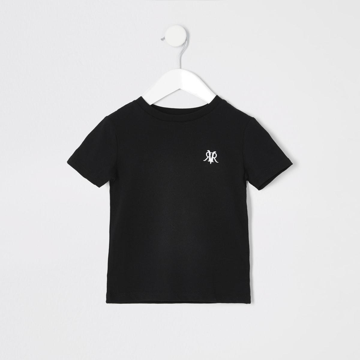 Mini boys black RI embroidered T-shirt