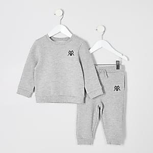 Ensemble avec pantalon de jogging gris chiné pour mini garçon