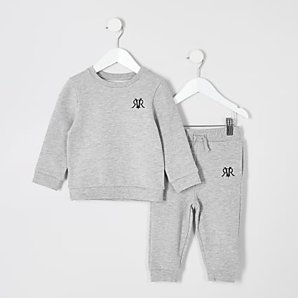 Mini boys grey marl jogger outfit
