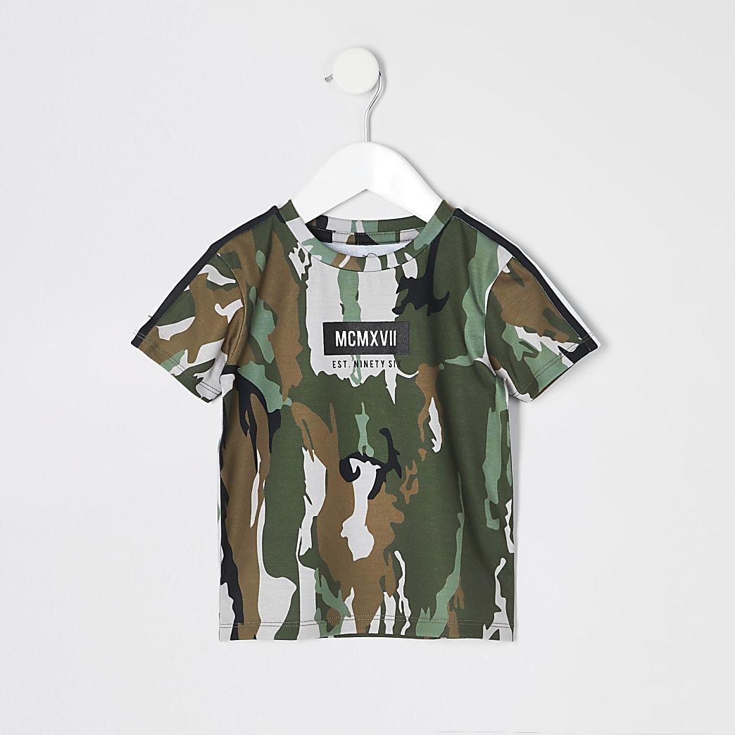 Mini boys khaki camo tape T-shirt