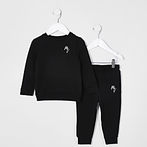 Mini boys black RI sweatshirt outfit