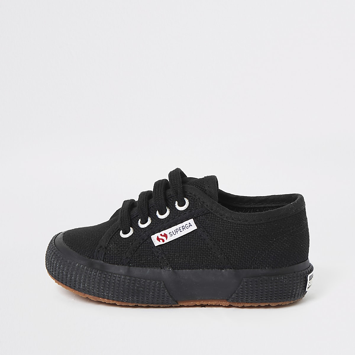 Kids Superga black lace-up plimsolls