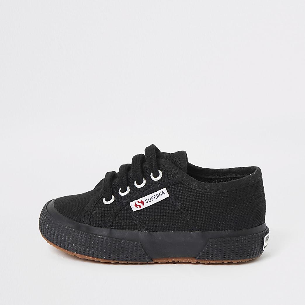 Superga – Tennis noires à lacets pour enfant