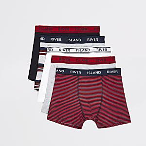 Lot de5 boxers rouges RIà rayures pour garçon