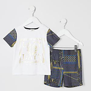 Mini - Pyjama-set met barokke Lazy days-print voor jongens