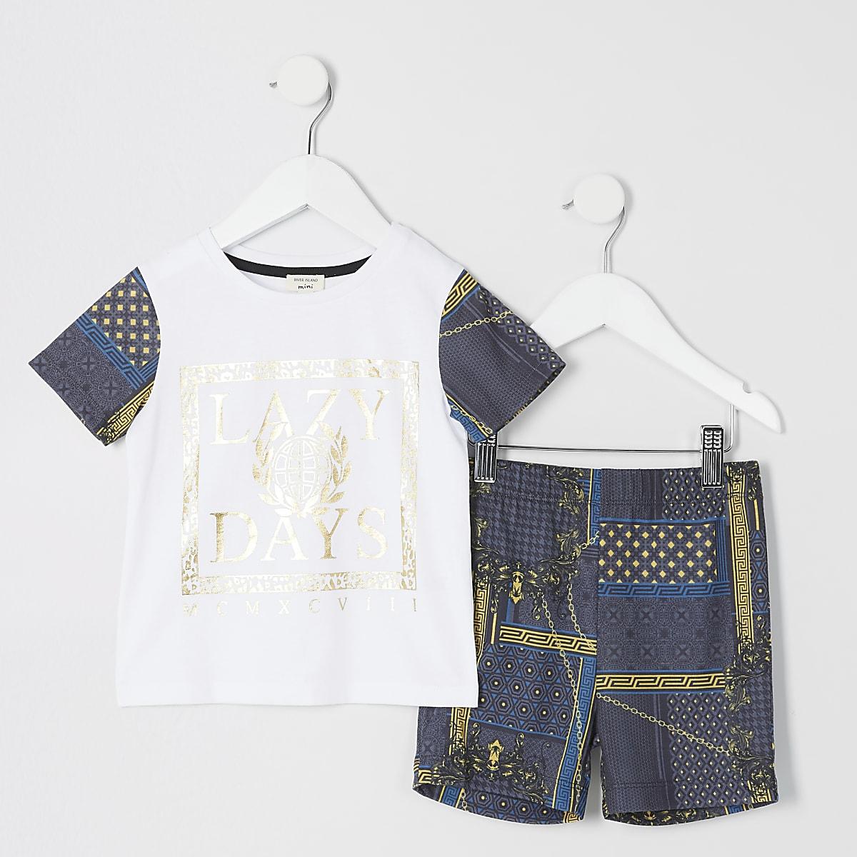 Mini boys 'Lazy Days' baroque pyjama set