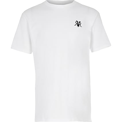 Boys white short sleeve T-shirt