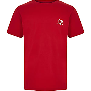 Boys red chest embroidered T-shirt