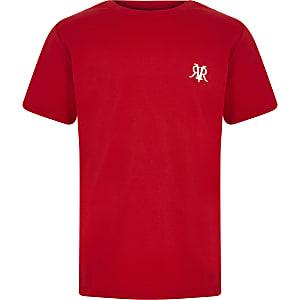 Rood T-shirt met borduursel op de borst voor jongens
