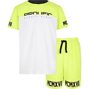 Outfit met limoengroen T-shirt van mesh met 'Prolific'-print voor jongens