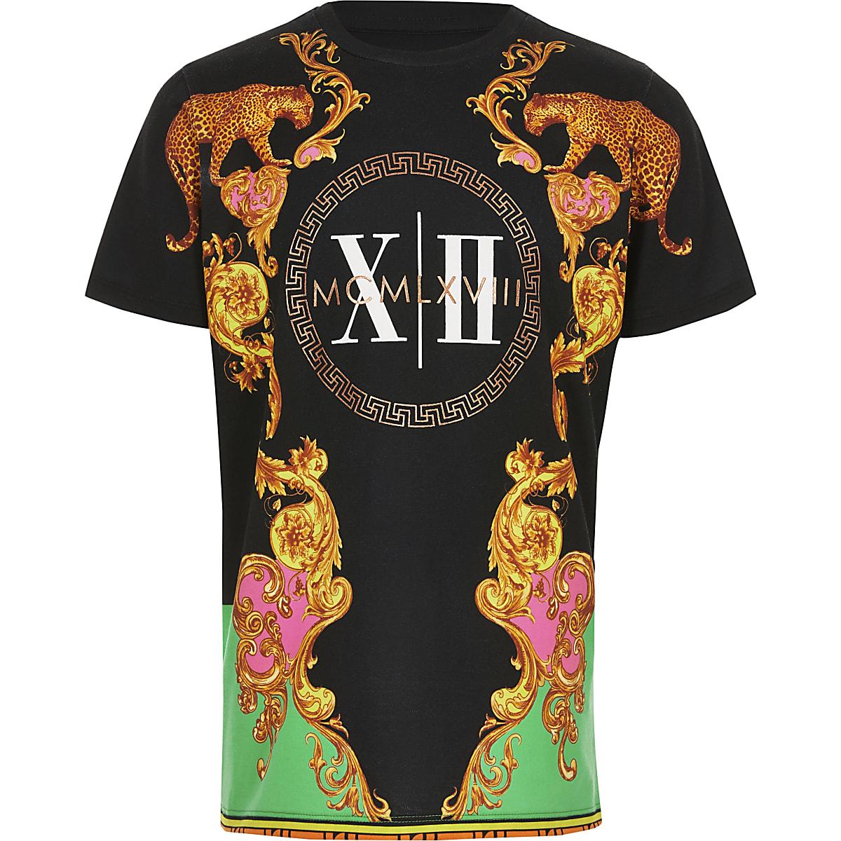 Schwarzes T-Shirt mit Barock-Print