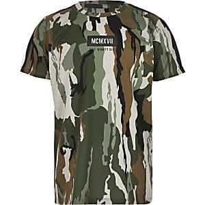 Kaki T-shirt met camouflage en bies voor jongens