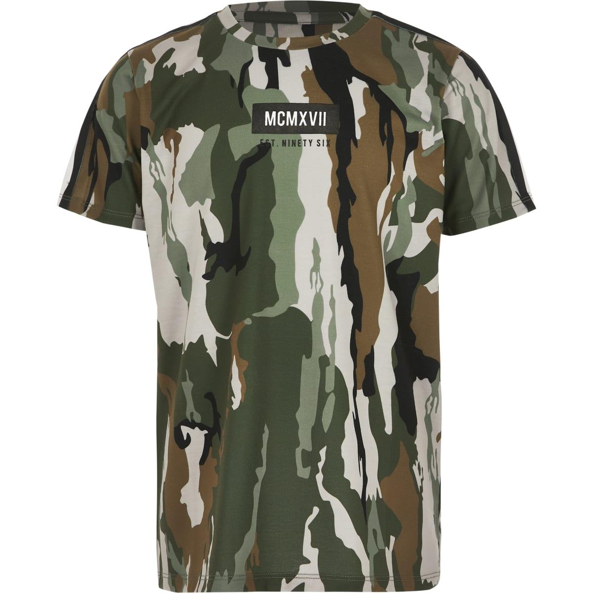 Boys khaki camo tape T-shirt