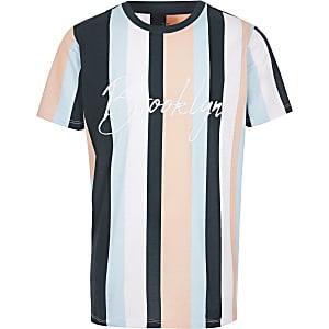 Blauw gestreept T-shirt met 'Brooklyn'-print