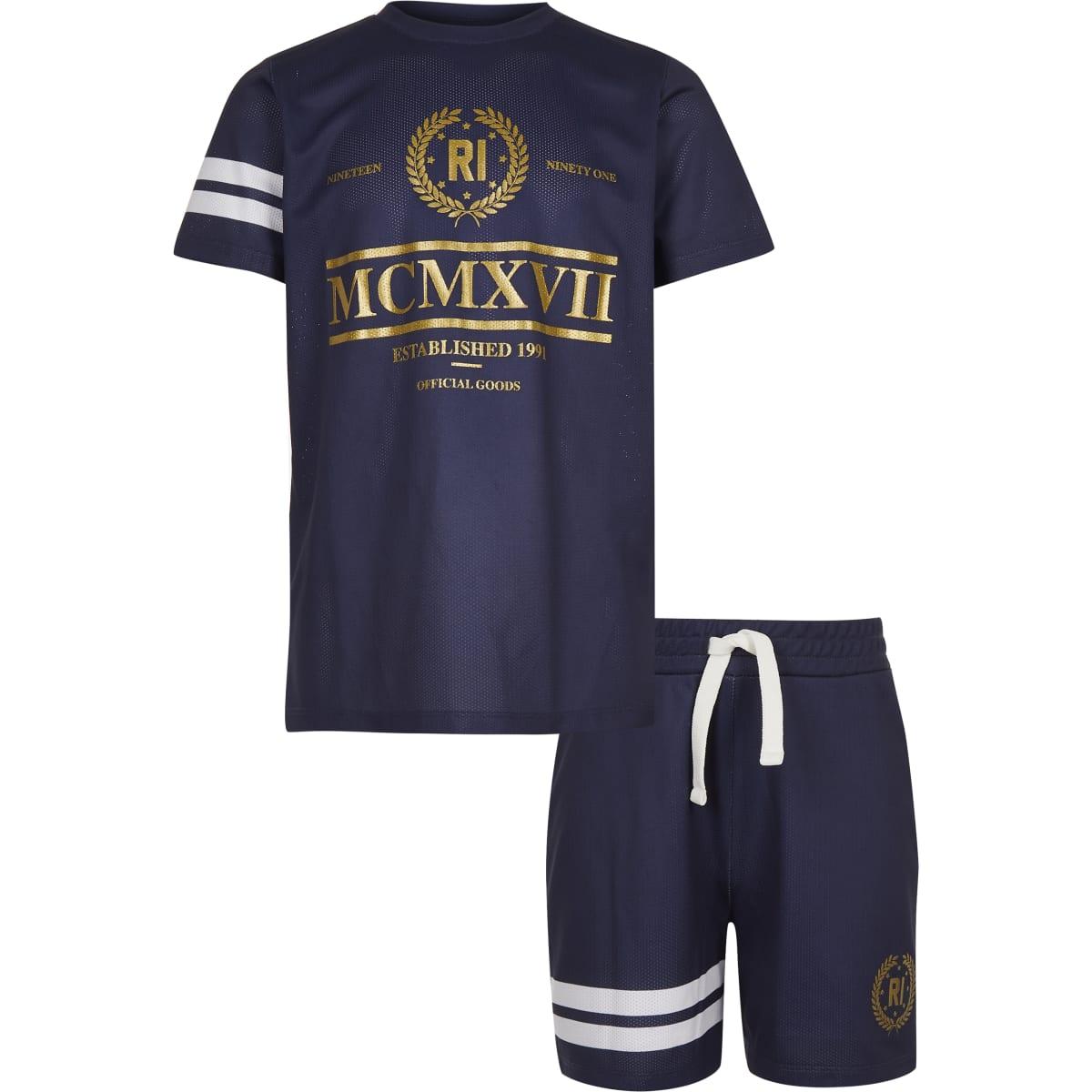 Boys navy foil print mesh T-shirt outfit