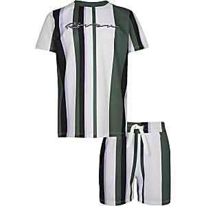Boys green mesh RI stripe T-shirt outfit