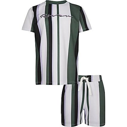 Boys green mesh RI stripe T-shirt outfit