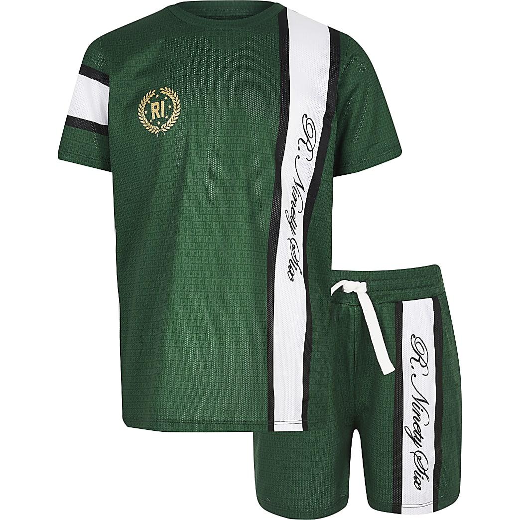 Boys green R96 mesh T-shirt outfit