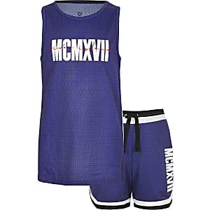 Outfit met blauw hemdje van mesh voor jongens