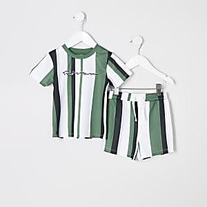 Ensemble avec t-shirt rayé vert pour mini garçon