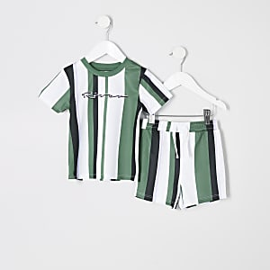 Mini - Outfit met groen gestreept T-shirt voor jongens