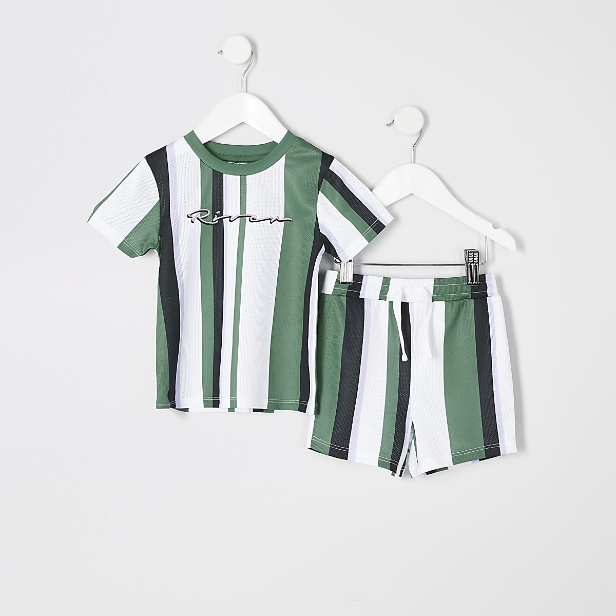 Mini boys green stripe T-shirt outfit