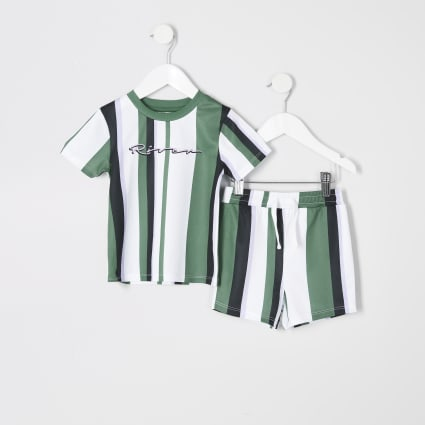 Mini boys green stripe T-shirt outfit