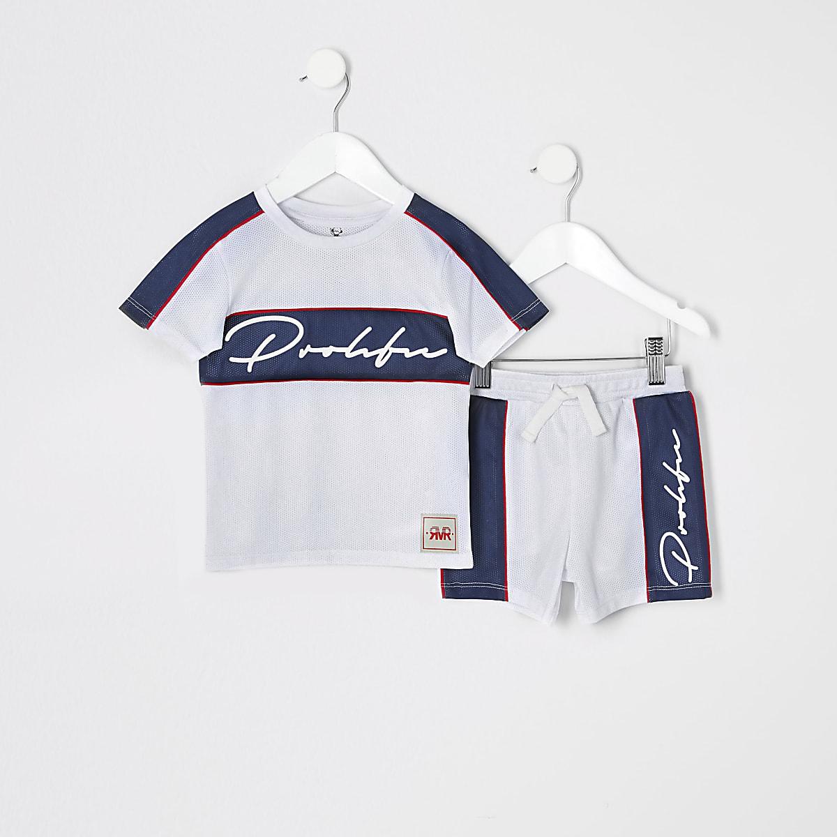 Mini boys white mesh Prolific T-shirt outfit