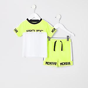 Mini - Outfit met limoengroen 'Prolific' T-shirt voor jongens