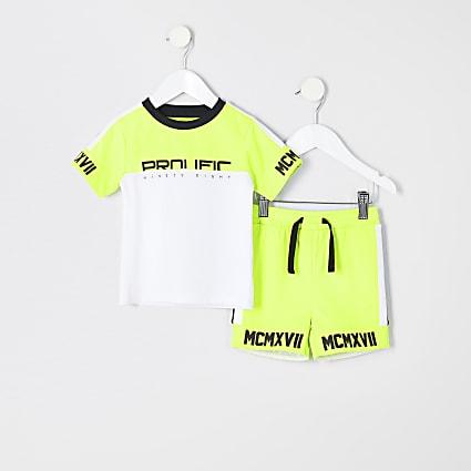 Mini boys lime 'Prolific' T-shirt outfit